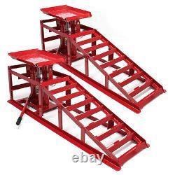 1 Pair Car Vehicle Ramp Lift Hydraulic Lifting Jack 2 heights 2 ton Heavy Duty
