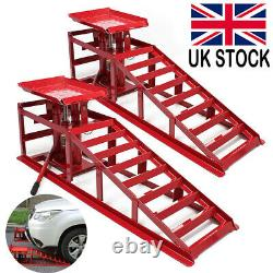 1 Pair Lifting Car Ramp Jack 2 ton Hydraulic Height Adjustable Garage Workshop