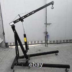 1 Ton Folding Engine Crane Stand Hoist Engine Jack Hydraulic Lift Black