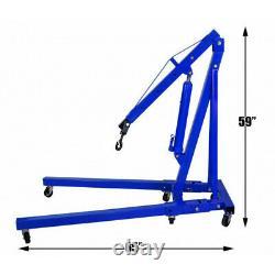 1 Ton Hydraulic Folding Engine Crane Workshop Garage Hoist Lift Stand Jack Blue