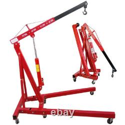 1 Ton Hydraulic Folding Workshop Engine Crane Stand Wheeled Hoist Lift Jack Red