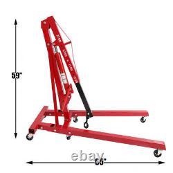 2 Ton 2000kg Hydraulic Engine Crane Stand Gearbox Hoist lift Jack Folding Garage