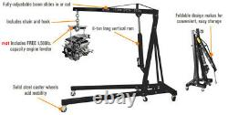2 Ton Garage Workshop Folding Car Van Hydraulic Engine Crane Lift Jack Wheel Blk