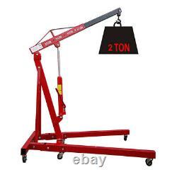 2 Ton Hydraulic Folding Engine Crane Hoist Lift Jack Stand Workshop Foldable