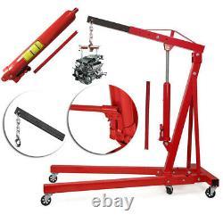2 Ton Hydraulic Folding Engine Crane Hoist Lift Workshop Lifter Jack with Wheels