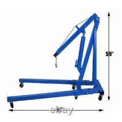 2 Ton Tonne Folding Engine Hydraulic Pick-up Crane Hoist Jack Stand Lift 6Wheels