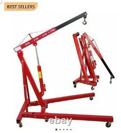 2 Ton Tonne Hydraulic Engine Crane Stand Gearbox Hoist lift Jack Folding Mobile