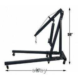 2 Ton Tonne Hydraulic Engine Crane Stand Hoist Lift Jack Lifting Machinery Black