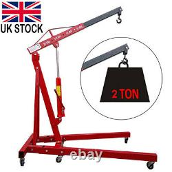 2 Ton Tonne Hydraulic Engine Crane Stand Hoist lift Jack Folding Adjustable UK