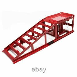 2x Heavy Duty Car Ramps Hydraulic Lifting Jack 2 Ton Height Adjustable Garage UK