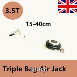 3.5Ton Car Jack Trolley 3 Bag Pneumatic Air Quick Lifting Lift Height 15-40cm
