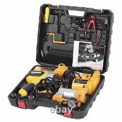 3 Ton 12V Lift Car Auto Electric-Jack & Hammer & Air Compressor Sets+Box