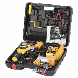 3 Ton Electric Hydraulic Floor Jack Lifting With Electric Impact Wrench Air Pump
