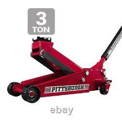 3 Ton Floor Jack Low HEAVY DUTY Steel Rapid Lift Pump Hydraulic Car Lifting NEW