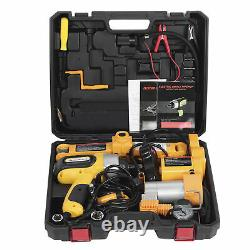 3 in 1 3Ton 42CM Lift Car Electric Jack Safety Impact Wrench & Air Pump Set