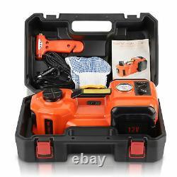 3in1 5Ton 12V Lift Car Electric Jack Safety Hammer LED & Air compressor Set Box