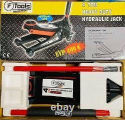 4 Ton Heavy Duty Ultra Low Profile Steel Floor Trolley Jack with Quick Lift