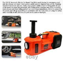 5Ton Lift 45cm 3in1 Car Electric Floor Jack Tire Inflator Pump & Electric Wrench