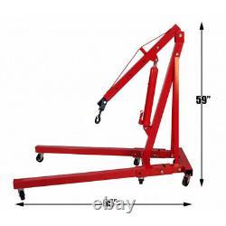 Adjustable 1 Ton Folding Engine Crane Hydraulic Wheel Shop Stand Hoist Lift Jack