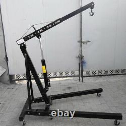 Black 1 Ton Hydraulic Engine Hoist Crane Folding Lifting Jack Workshop Garage