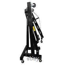 Black Hydraulic Lift Folding Engine Crane Stand Hoist Engine Lift Jack 1 Ton