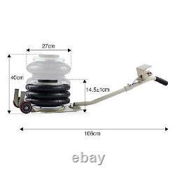 Cap 400 mm Lift Height Pneumatic Triple Air Bag Car Jack Trolley 3 Ton 6600 lbs