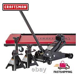 Craftsman 3 Ton Floor Jack Set 6000 Lbs Lift Capacity 36 Creeper 2 Stand Combo