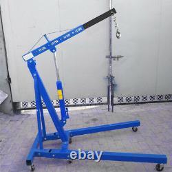 Folding Engine Crane Blue 1 Ton Tonne Hoist Lift Workshop Hydraulic Lifting Jack