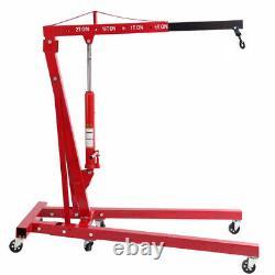 Hydraulic 2 Ton Tonne Engine Crane Stand Hoist Lift Jack Workshop Folding Red