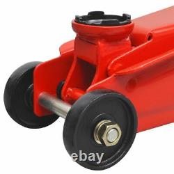 Low-Profile Hydraulic Floor Jack 3 Ton Red Car Trunk Lifting Wind Up Garage
