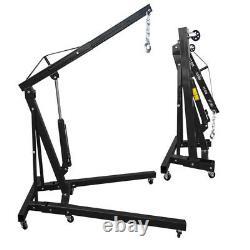 Pro Black Handling 1T Ton Hydraulic Folding Engine Crane Hoist Lift Jack Garage