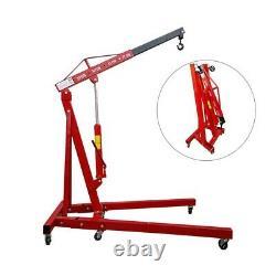 Red Heavy Duty 1 Ton 1T Hydraulic Folding Engine Crane Stand Hoist lift Jack UK
