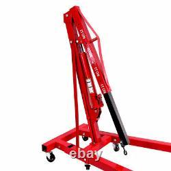 Red Heavy Duty Hydraulic 2 Ton Engine Crane Folding Stand Hoist Lift Jack Garage
