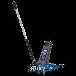 Sealey 2001LEBL 2 Ton Trolley Jack 74mm Low Profile Entry Quick Lift Rocket Blue