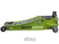 Sealey 2001LEHV 2 tonne Ton Low Entry Rocket Lift Trolley Jack Hi Vis Green Lift