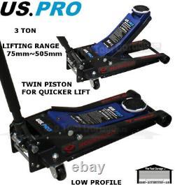 US PRO Rockhold 3 Ton Low Profile Trolley Jack, Quick Lift Twin Piston NEW 10108
