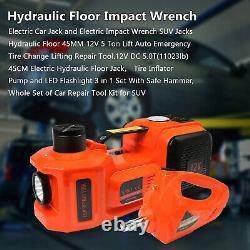 12v 5 Tonnes 3 En 1 Électrique Hydraulique Voiture Cric De Levage Et D'impact Set Clé
