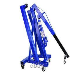 1 Tonne Hydraulique Pliant Grue De Moteur Atelier Garage Hoist Lift Stand Jack Blue
