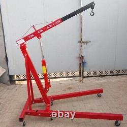 1 Tonne Rouge Pliage Moteur Crane Stand Hydraulique Ascenseur Jack Hoist Hydraulique Roue