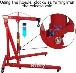 2 Ton 2000kg Moteur Hydraulique Crane Stand Gearbox Hist Lifting Jack Pliant Garage