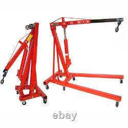 2 Tonnes De Grue Hydraulique Grue À Moteur Stand Lift Lift Folding Jack Wheels Lifting