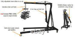 2 Tonnes Hydraulique Moteur Pliant Grue Stand Hoist Lift Jack Wheels Lifting
