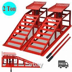 2x Rampes De Réparation De Véhicules Automobiles Lift 2 Ton Atelier Garage Hydraulic Lifting Jack