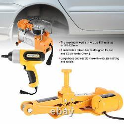 3 Ton 16.5in Lifting Electric Jack & Wrench & Air Pump Set Car Tire Repair Tool