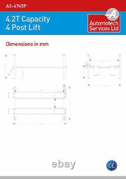 4 Post Lift / Four Vehicle Car Ramp / Hoist 4.2 Tonne, Avec Jack Beam Nouveau