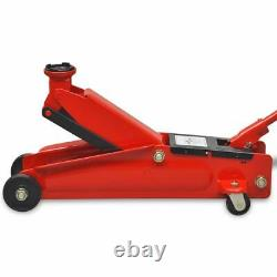 Faible Profil Hydraulic Floor Jack 3 Tonnes Red Car Trunk Lifting Wind Up Garage
