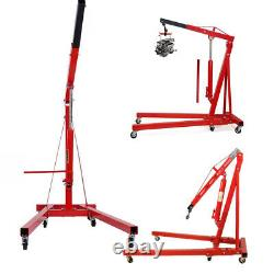 Hydraulique 2 Tonnes Moteur Crane Stand Hoist Lift Jack Workshop Pliant Rouge