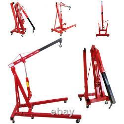 Pliage Rouge 1 Tonne Hydraulique De Moteur Crane Stand Hoist Lift Jack Avec Roue
