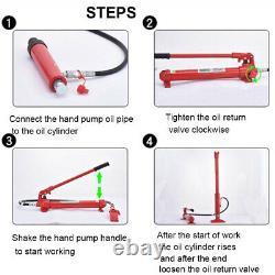 Porta Power Hydraulic Jack Air Pump Lift Ram Body Frame Outil De Réparation 10 Tonnes