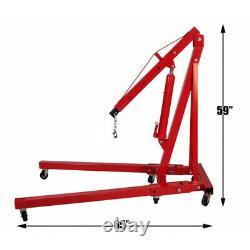 Professionnel 2 Ton 2000kg Hydraulique Pliage Moteur Crane Hoist Lift Jack Roues
